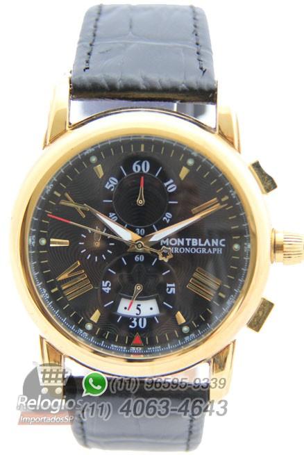 Relógio Réplica Montblanc Chronograph New Dourado Black