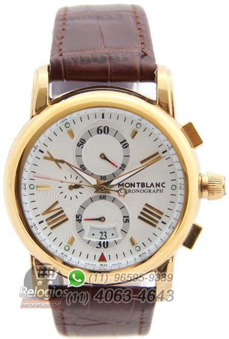809e8c0e71f Relógio Réplica Montblanc Chronograph New Dourado White