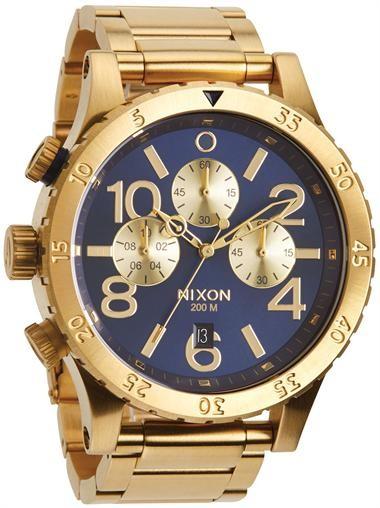 Relógio Réplica Nixon 48-20 Chrono Dourado Azul Sunray