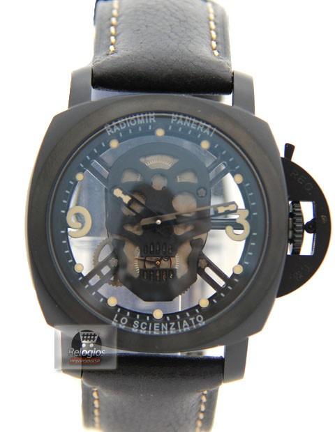 Relógio Réplica Panerai Radiomir Esqueleto Lo Scienziato Black