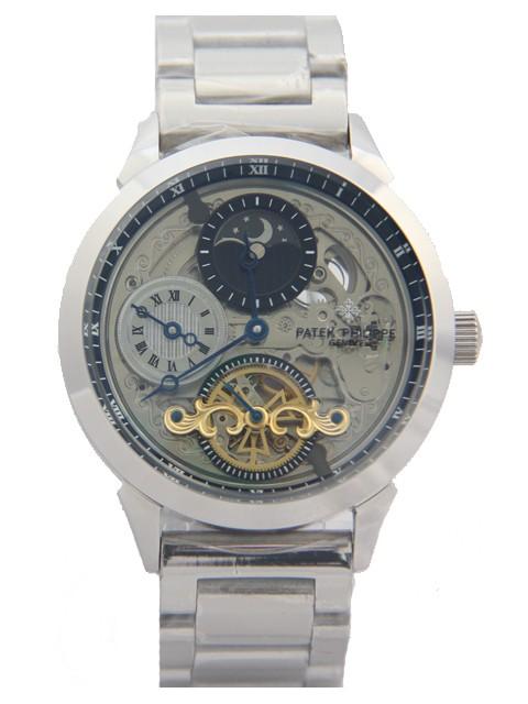 Relógio Réplica Patek Philippe Geneve Esqueleto Prata Preto