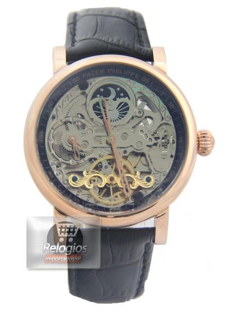 Relógio Réplica Patek Philippe Esquelete Rose Black