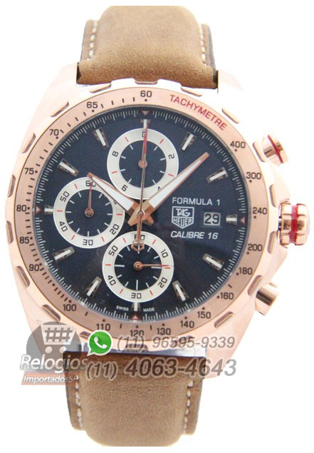 Relógio Réplica Tag Heuer Calibre 16 Rosê com Mostrador Azul