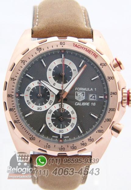 Relógio Réplica Tag Heuer Calibre 16 Rosê com Mostrador Cinza