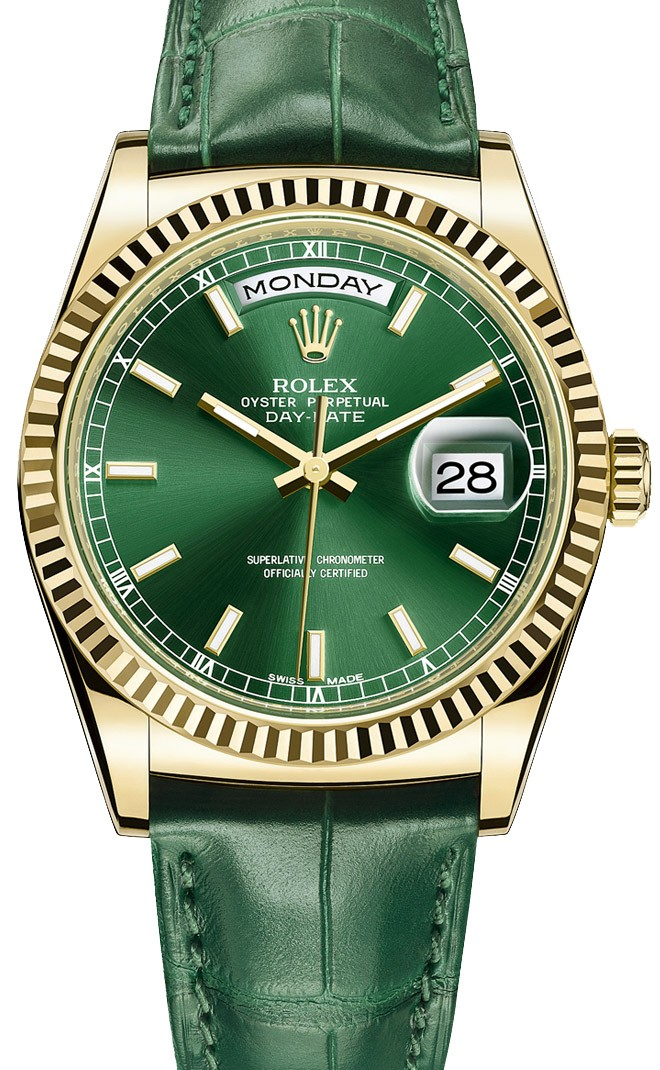 Relógio Réplica Rolex Day Date Gold Green Edition