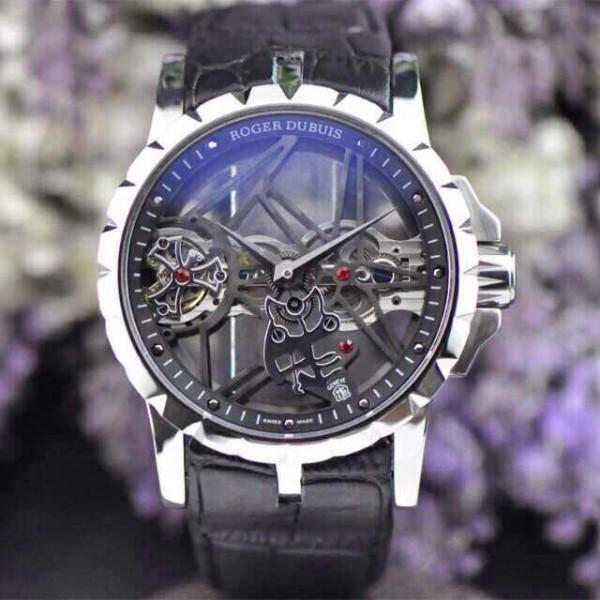 Relógio Réplica Roger Dubuis Esquelete Preto New