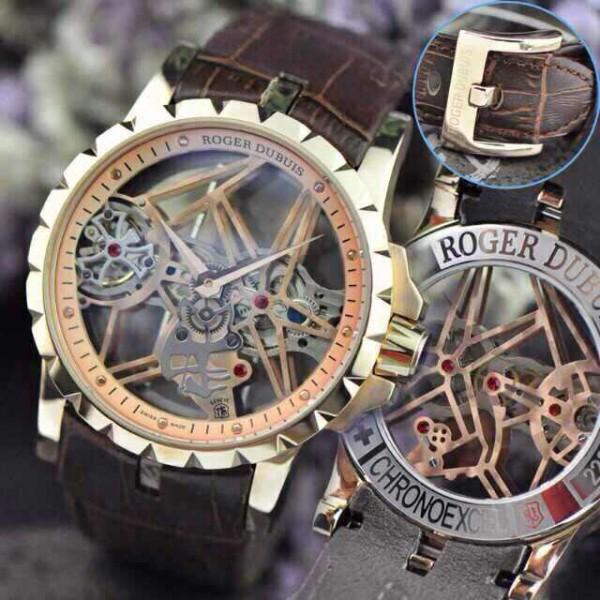 Relógio Réplica Roger Dubuis Esquelete Rose New