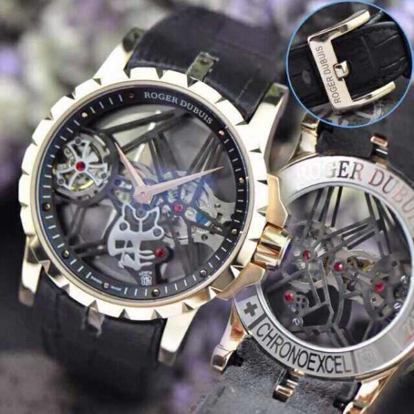 Relógio Réplica Roger Dubuis Esquelete Rose Preto New