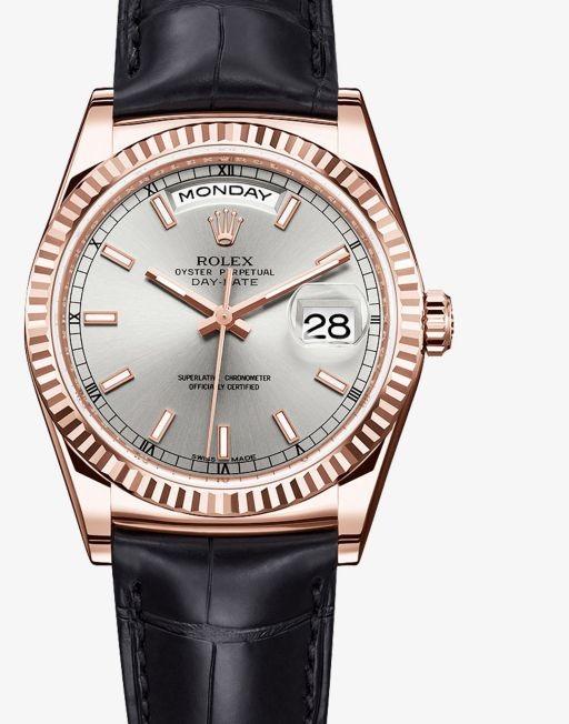 Relógio Réplica Rolex Day Date Black Gold White