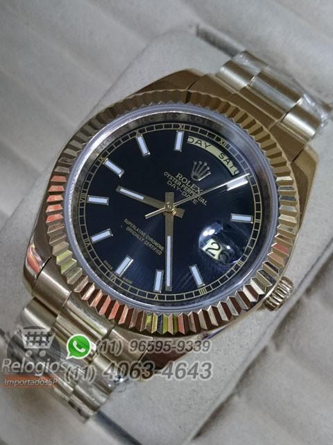 Relógio Réplica Rolex Day Date Dourado Preto