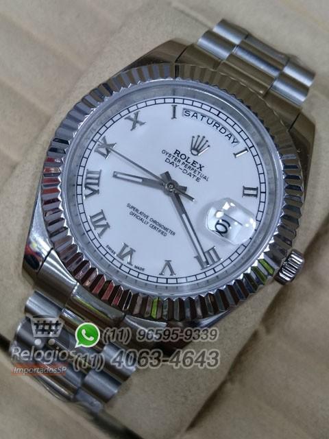 Relógio Réplica Rolex Day Date Prata Branco