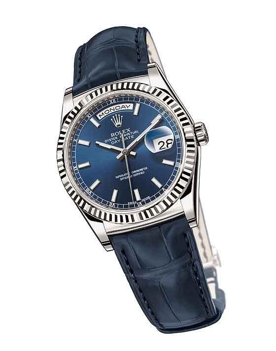 Relógio Réplica Rolex Day Date White Gold Blue