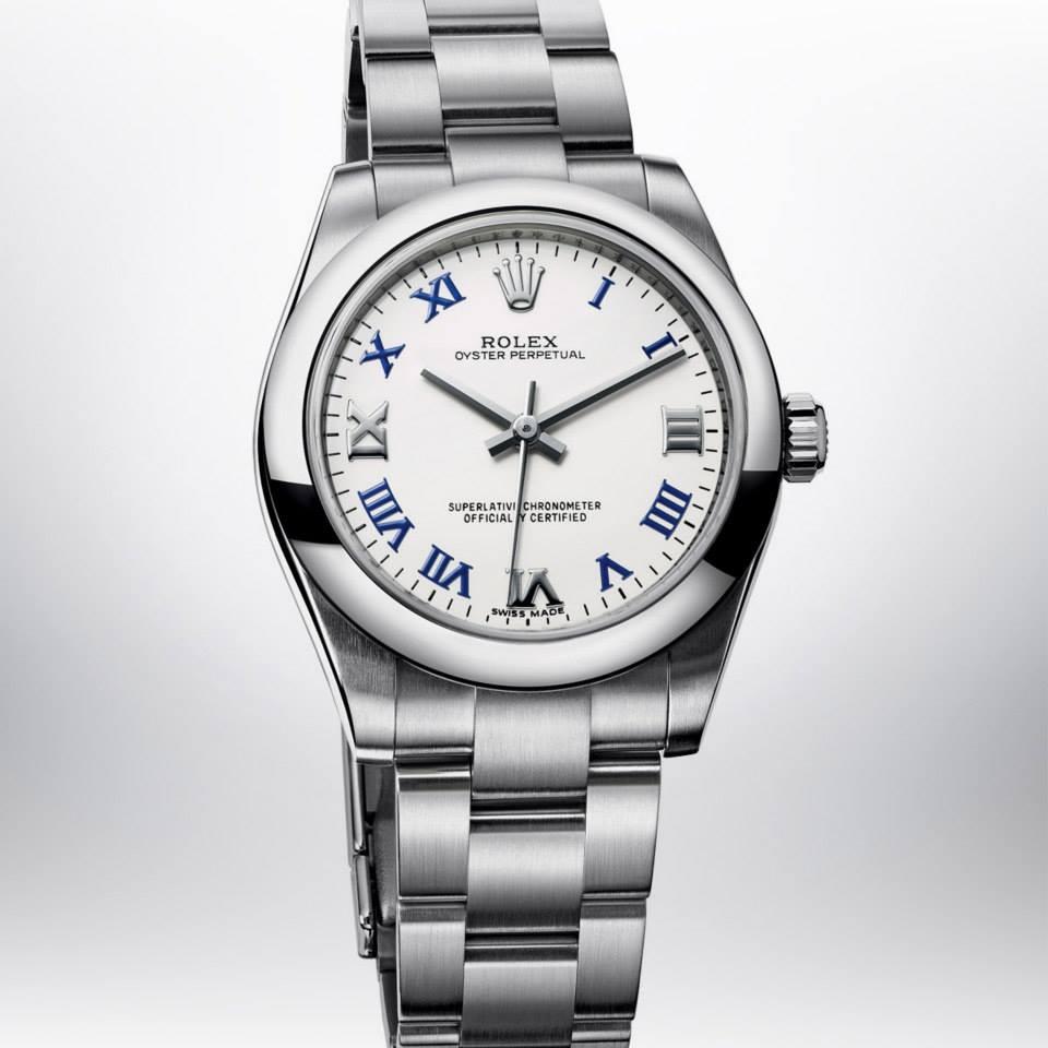 Relógio Réplica Rolex Oyster Perpetual White Blue