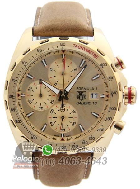 Relógio Réplica Tag Heuer Calibre 16 Dourado