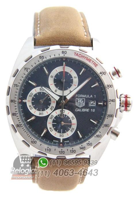 Relógio Réplica Tag Heuer Calibre 16 Prata com Mostrador Azul