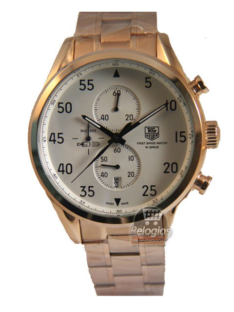 Relógio Réplica Tag Heuer Carrera Space-X Rose Branco