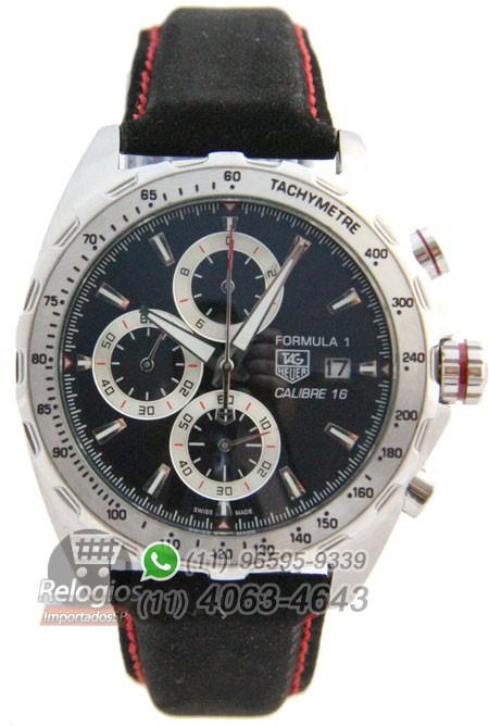 Relógio Réplica Tag Heuer Calibre 16 Preto com Prata