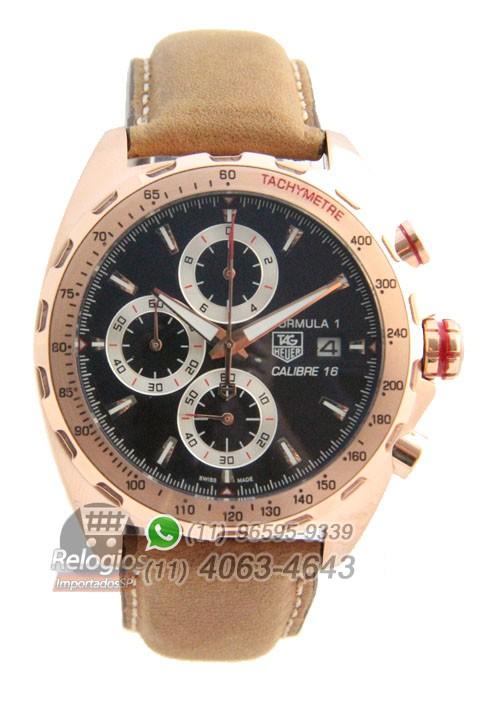 Relógio Réplica Tag Heuer Calibre 16 Rosê com mostrador Preto