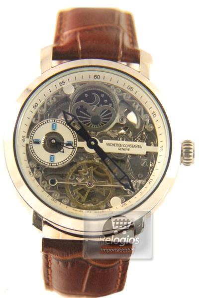 Relógio Réplica Vacheron Constantin Esquelete Marrom