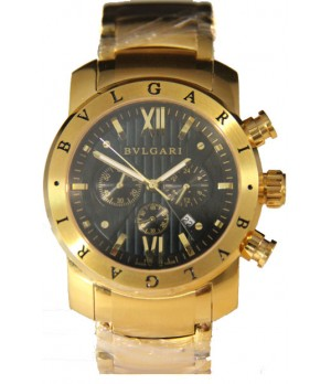 Relógio Réplica Bulgari Homem De Ferro Dourado Preto