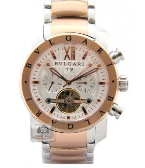 Relógio Réplica Bulgari Homem de Ferro Branco Rosê