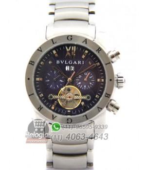 a5da70d33d8 Espiar · Relógio Réplica Bulgari Homem de Ferro Prata Azul