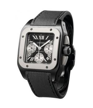 Relógio Réplica Cartier Santos 100 Black Steel