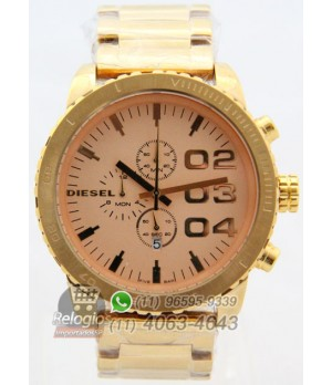 Relógio Réplica Diesel The Only Brave Dourado ( PROMOÇÃO )
