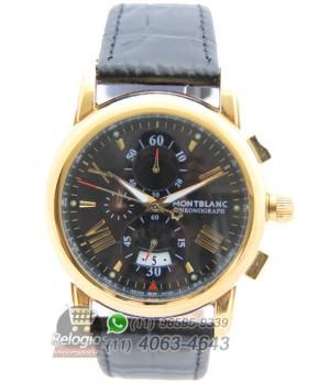 87ce83e9cbc Espiar · Relógio Réplica Montblanc Chronograph New Dourado Black