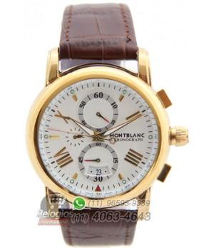 065ed2dad8c Espiar · Relógio Réplica Montblanc Chronograph New Dourado White