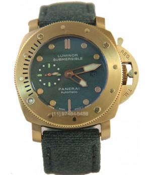 Relógio Réplica Panerai Submersible Gold Green