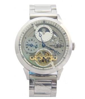 Relógio Réplica Patek Philippe Geneve Esqueleto Prata Dourado