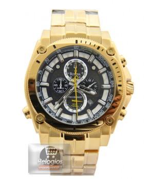 Relógio Réplica Bulova 96b175 Gold Black
