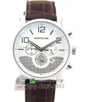 Relógio Réplica Montblanc Chronograph Branco Marron