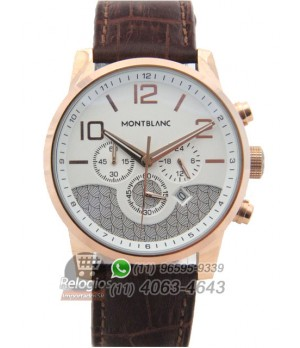 587a654a68d Espiar · Relógio Réplica Montblanc Chronograph Rosê Branco