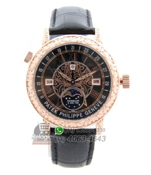 Relógio Réplica Patek Philippe Geneve Dourado Preto