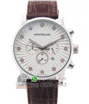 Relógio Réplica Montblanc Chronograph Branco Stell