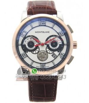 36d8d8860e2 Espiar · Relógio Réplica Montblanc Chronograph Rosê Marrom