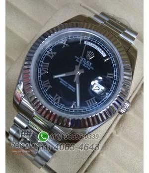 Relógio Réplica Rolex Day Date Prata Preto Romano