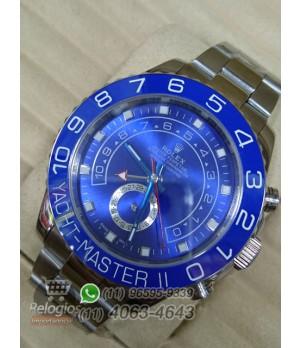 Relógio Ráplica Rolex Oyster Yacht Master II Prata Azul ( LANÇAMENTO 2015 )