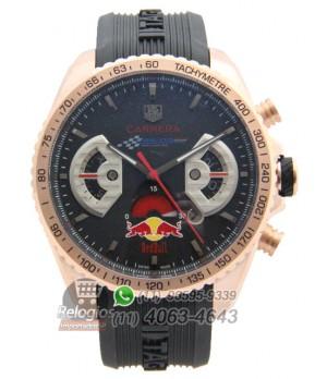 6aa43fe6bf4 Espiar · Relógio Réplica Tag Heuer Carrera Red Bull Rosê Preto