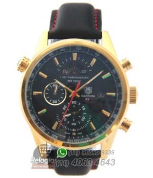 53e78898d05 Espiar · Relógio Réplica Tag Heuer Carrera Rs3 Dourado Preto ( New )