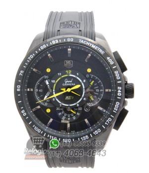 2a9dc17fcf0 Espiar · Relógio Réplica Tag Heuer Carrera Rs3 Preto Amarelo( New )