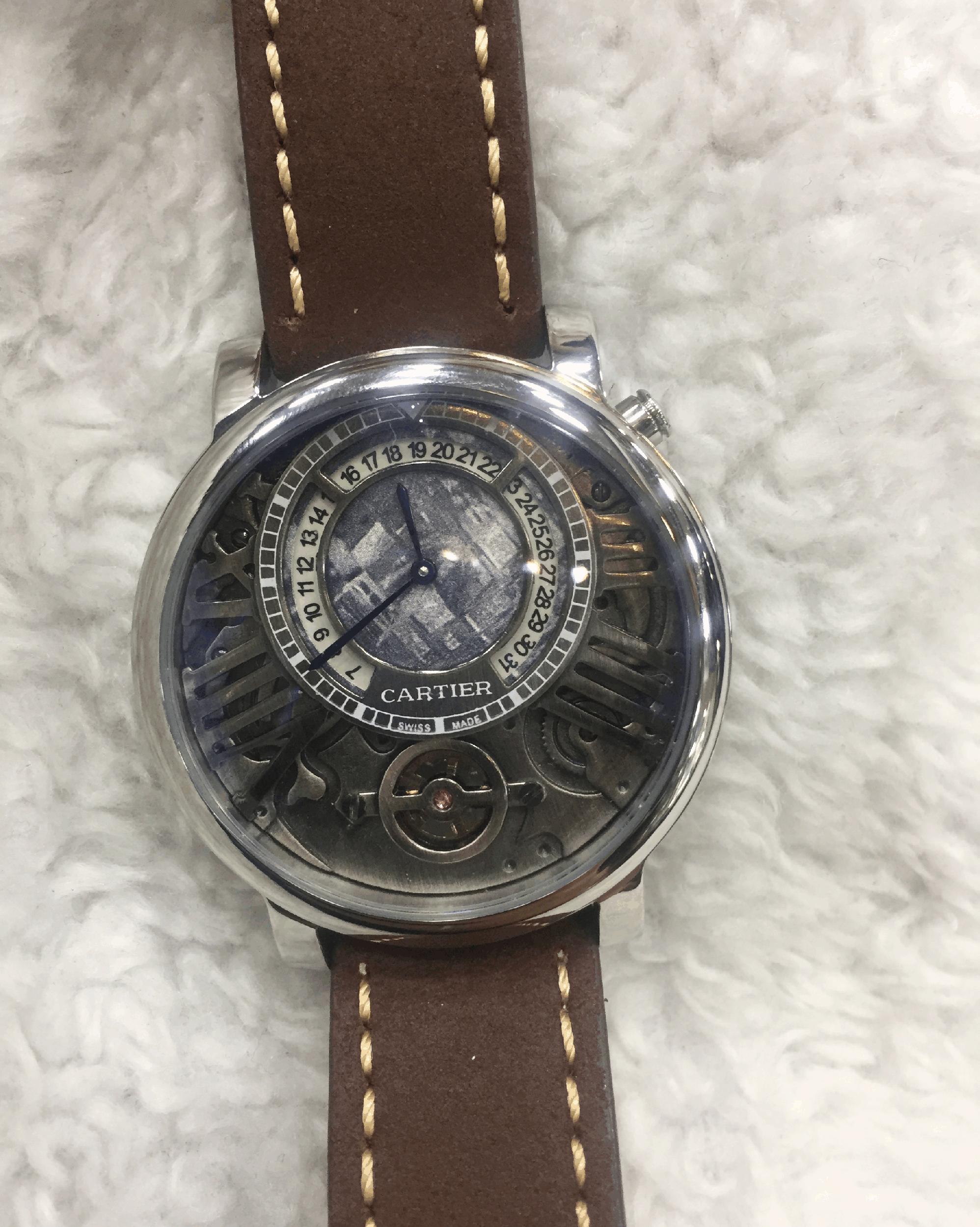 Replica de Relógio Cartier AU750 Couro