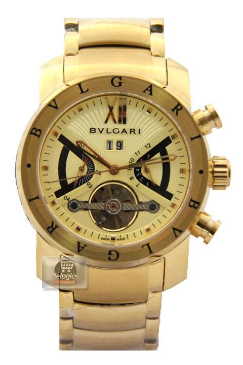 Relógio Réplica Bulgari Homem de Ferro All Dourado