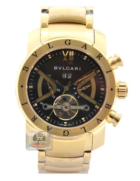 Relógio Réplica Bulgari Homem de Ferro Preto Dourado