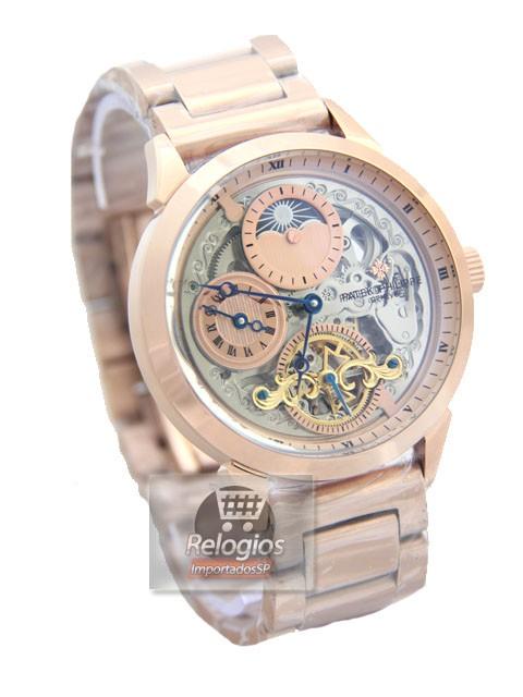 Relógio Réplica Patek Philippe Geneve Esqueleto Rosê Dourado