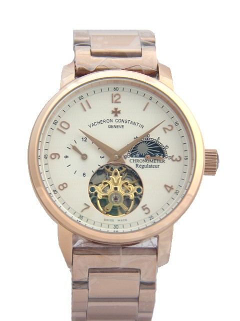 Relógio Réplica Patek Philippe Geneve Turbillon Rosê Branco