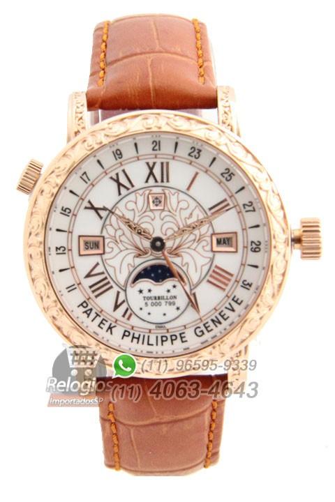Relógio Réplica Patek Philippe Geneve Dourado Branco
