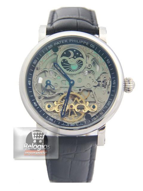 Relógio Réplica Patek Philippe Esquelete Black